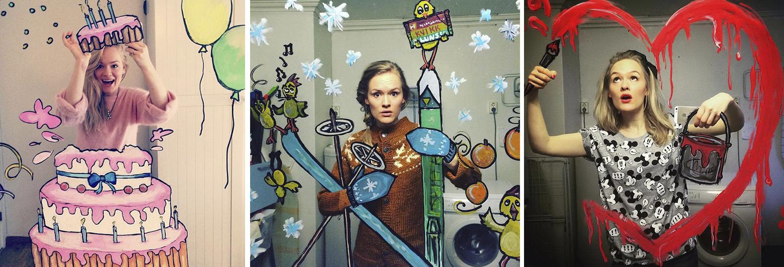 Хелен Мелдал (Helene Meldahl) с помощью специальных красок разрисовывает зеркало в своей ванной комнате, чтобы затем сфотографироваться в свежих декорациях.